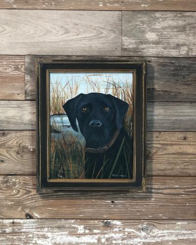 Black lab painting on display