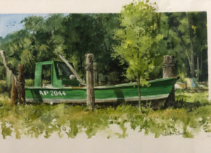 Oyster boat painting