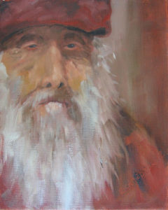 Painting of an old man with a white beard