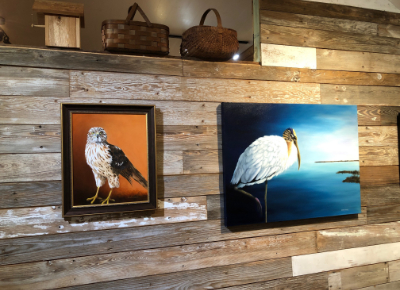 Paintings on display at Live Oak