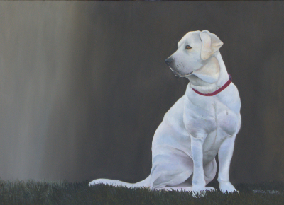White lab painting