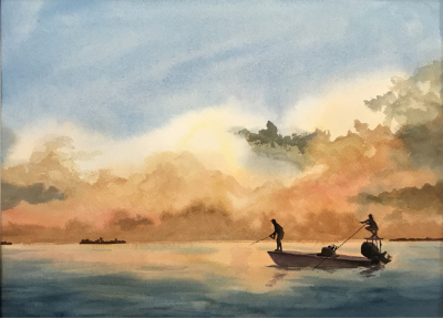 'Evening Cast 18x22 watercolor $350