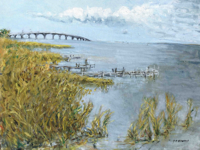 """Gorrie Bridge Horizon"" 19x25 oil on board $1300"