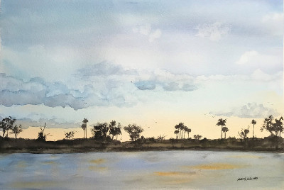 "Marty Holland ""Late Afternoon"" 20x26 watercolor $300"