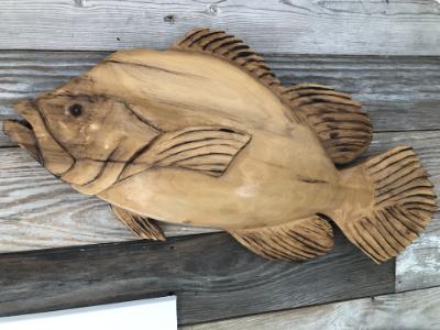 "Ronnie Segree ""Tripletail"" 13x26x2 carved cypress $250"