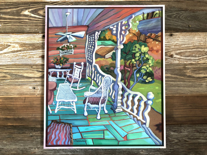 "Judith Surowiec ""White Wicker on Pink Porch"" 24x20 acrylic $360"
