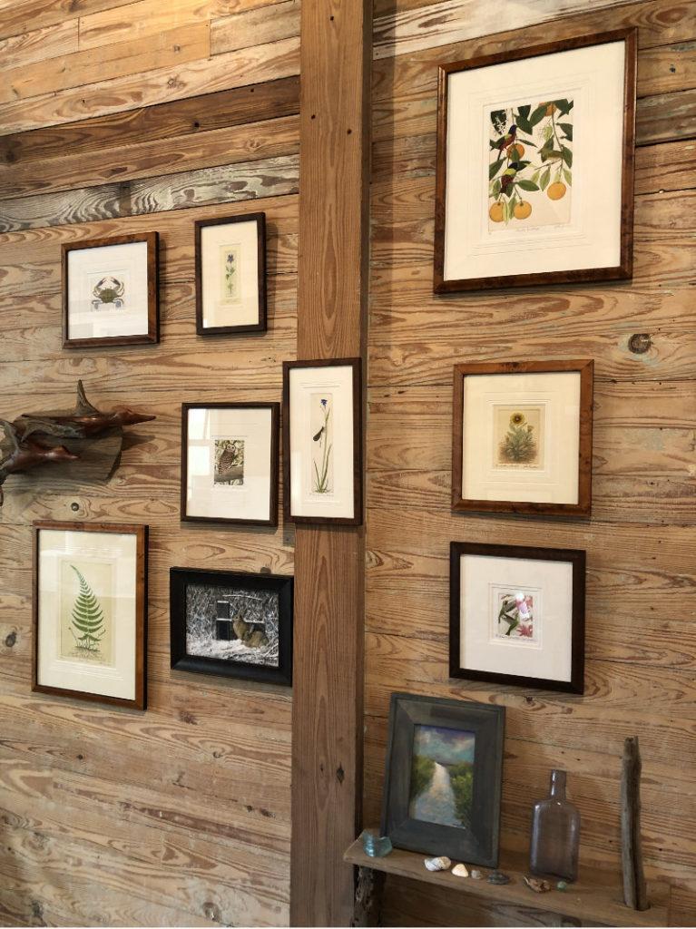 "John Furches Aquatint Etchings; Daryl Freed ""Taggin' Along"" cedar carving; Broderick Crawford ""Anticipation"" (Bunnies) oil on canvas; Christine Black ""Beach Path"" oil on canvas"
