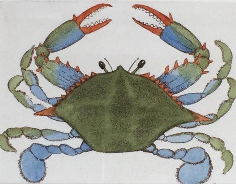 "John Furches ""Blue Crab IV"" 10x11 framed $95"