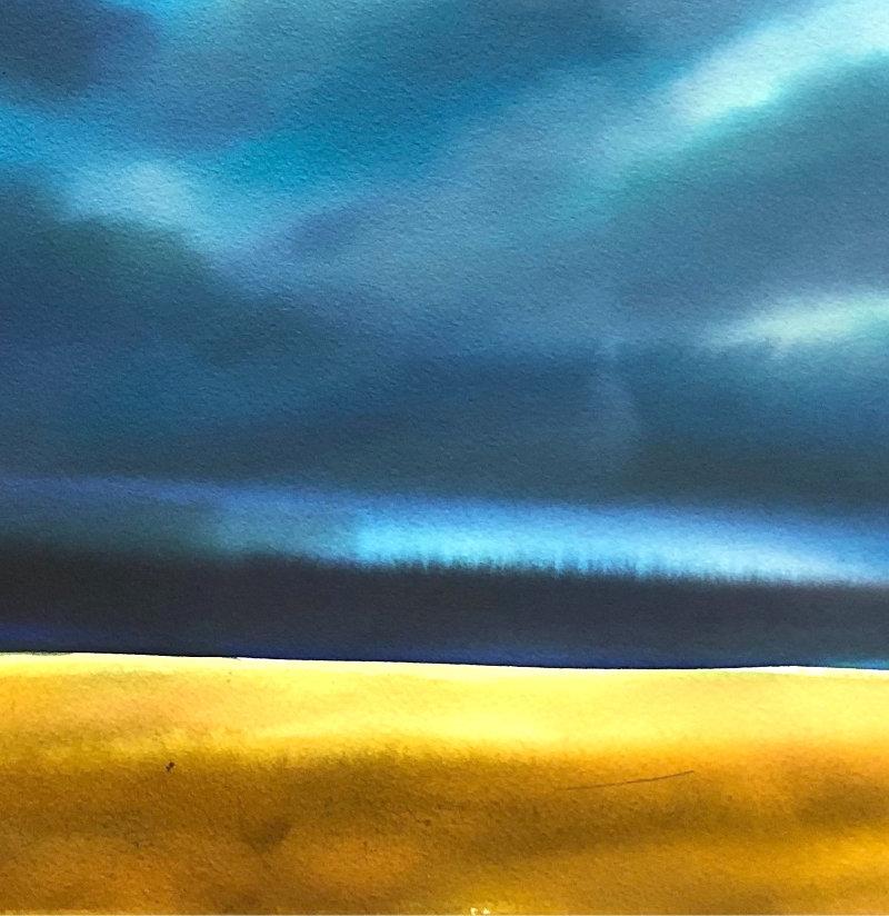 "Christine Black ""Clearing Skies"" 12x12 watercolor $350"