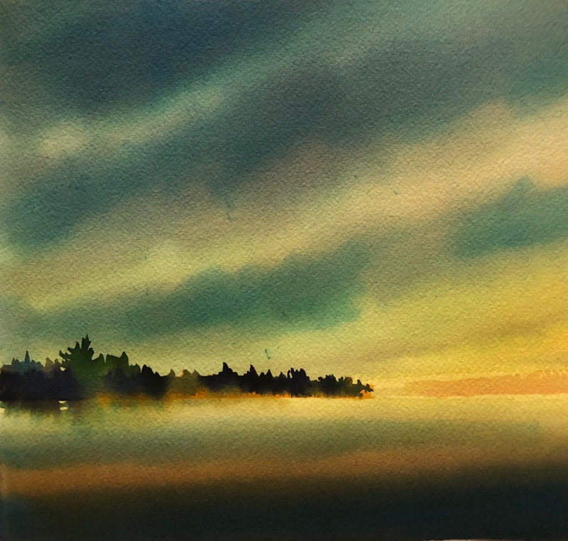 "Christine Black ""Early in the Morning"" 9x9 watercolor $350"