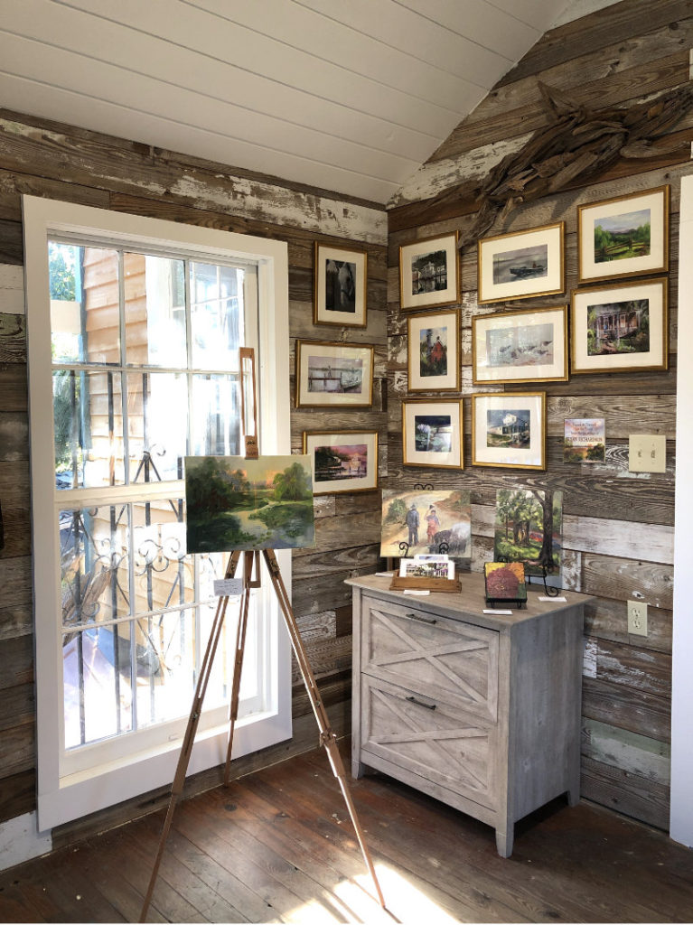 "Susan RIchardson's framed giclee's and an original on the easel ""Study in Green"""