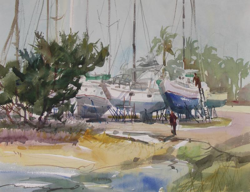 """Mary O. Smith """"Boat Yard Life"""" 16x20 watercolor $500"""