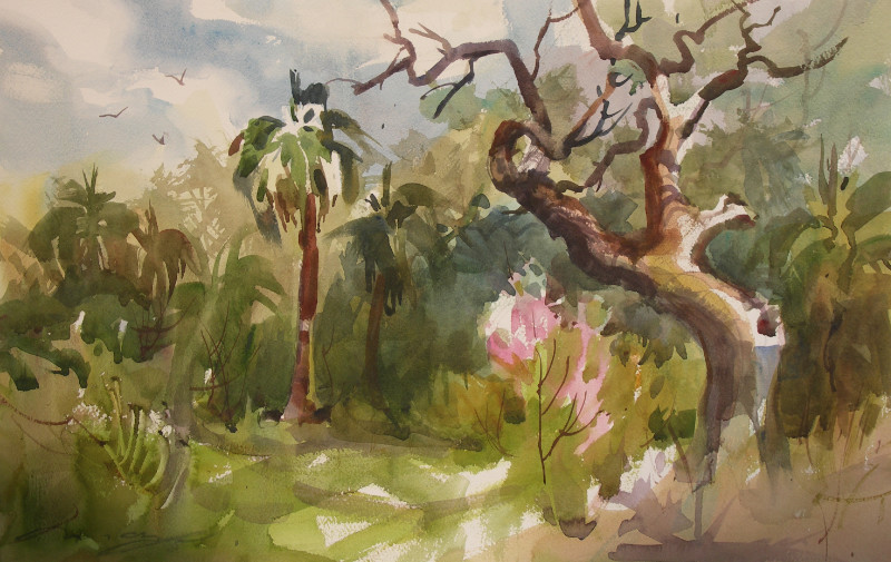 """Mary O. Smith """"Off the Beaten Track"""" 15x22 watercolor $500"""