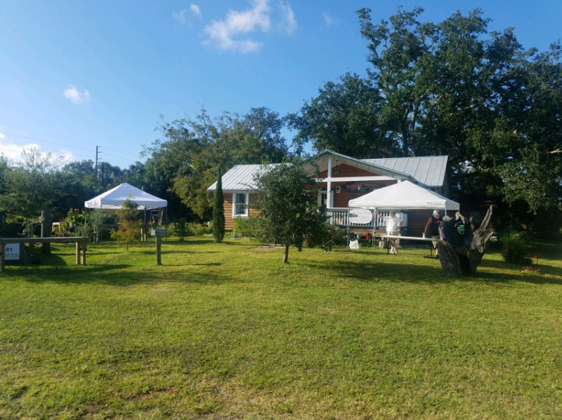 Setting up for reception on the front lawn