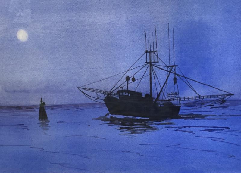 Mally Weaver Full Moon Rising20x24 framed watercolor $285
