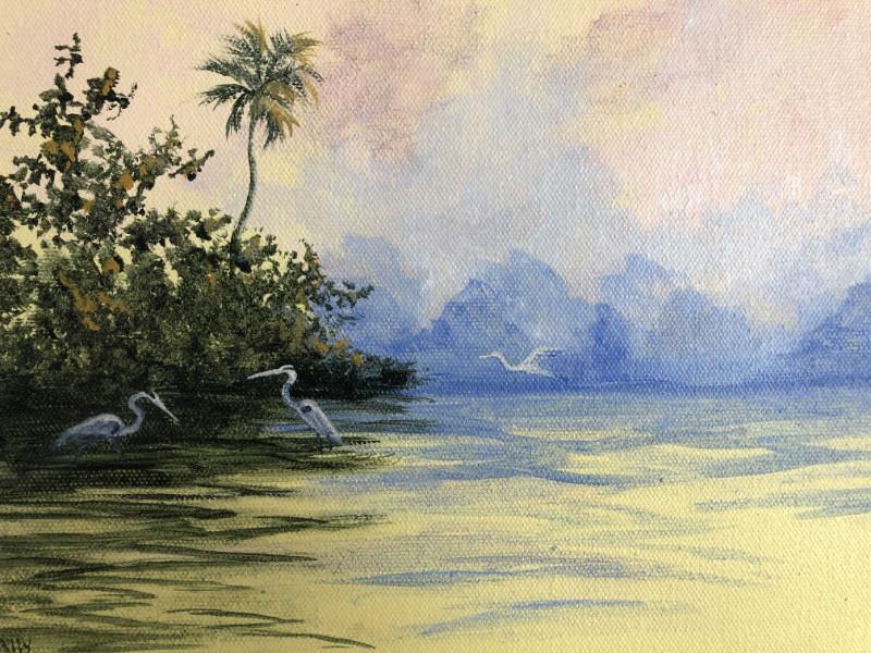 Mally Weaver Ghost Bird at Sunrise (detail) acrylic on canvas $225