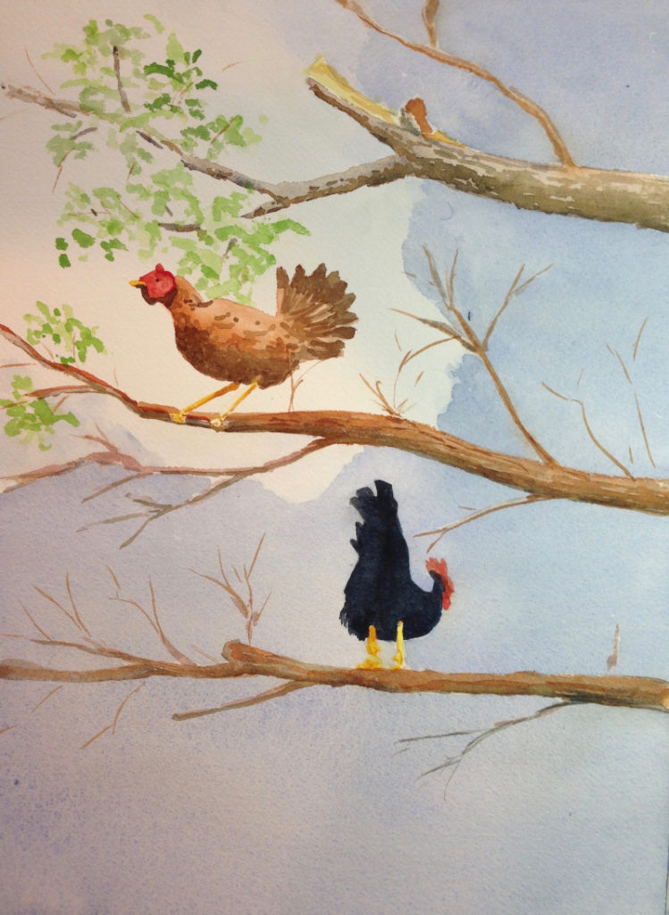 Mally Weaver Home to Roost 20x16 watercolor $275