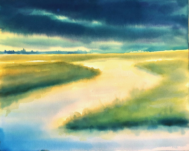 Christine Black Into the Storm 15x19 watercolor $575