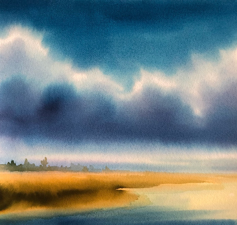 Christine Black The Golden Hour 12x12 watercolor $425