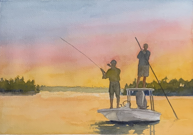 Fishing Time watercolor by Marty Holland SOLD