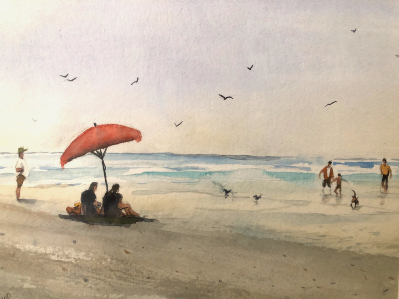 Marty Holland Day at the Beach 12x16 watercolor $125
