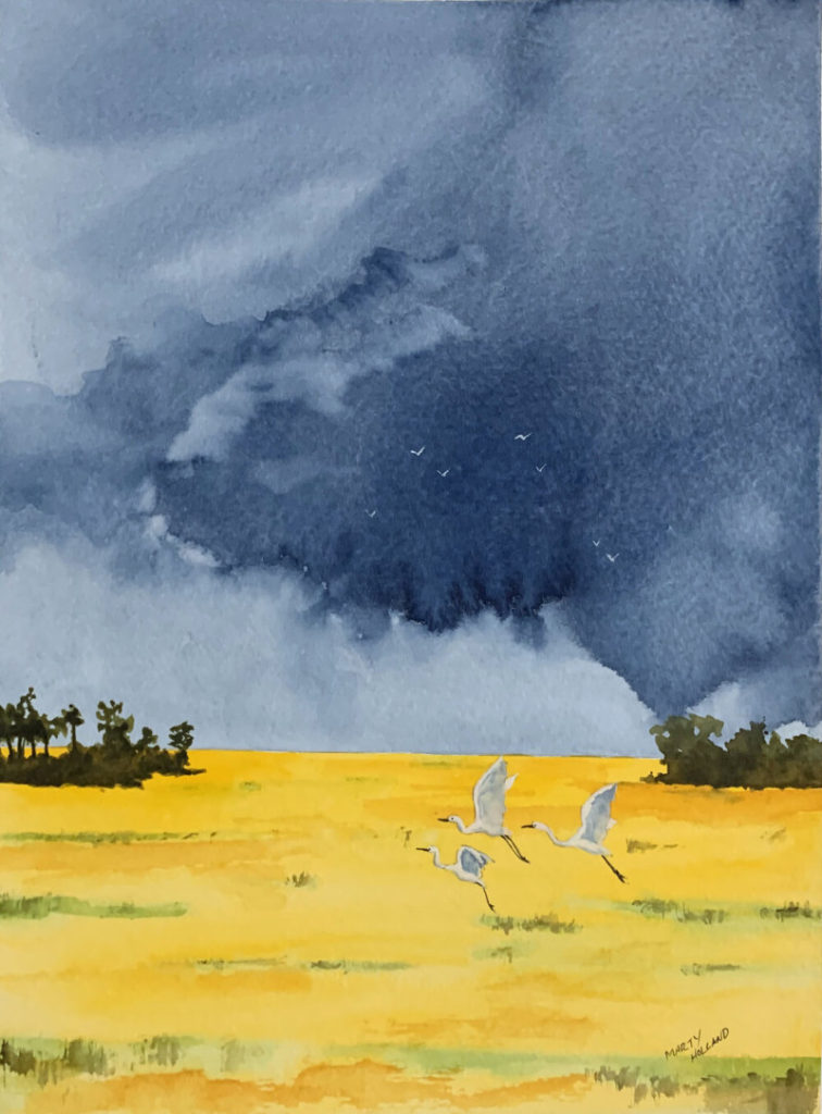 Marty Holland Rain is Coming 22x18 watercolor $300