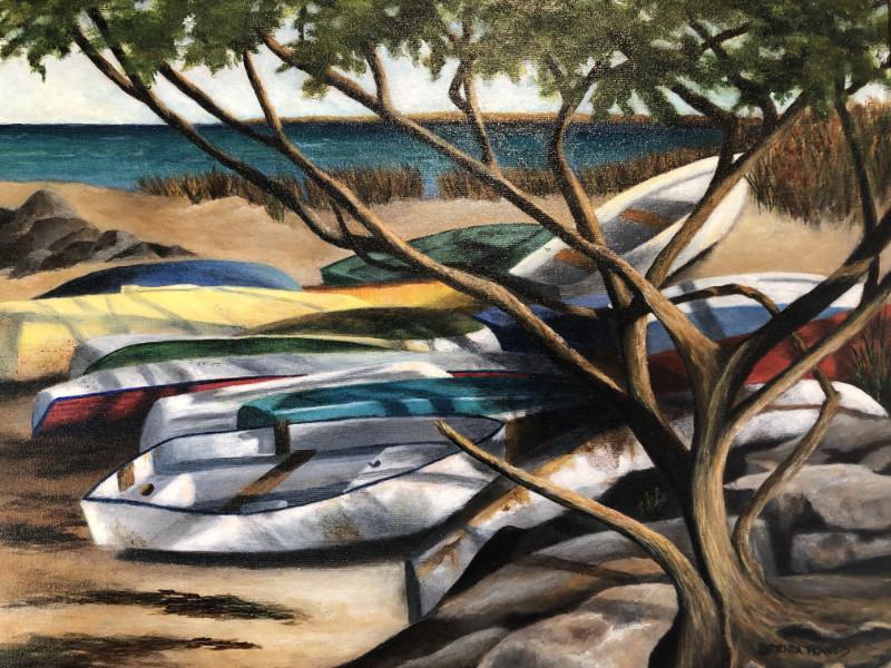 Brenda Francis Boats in the Shade 16x20 acrylic on canvas $500