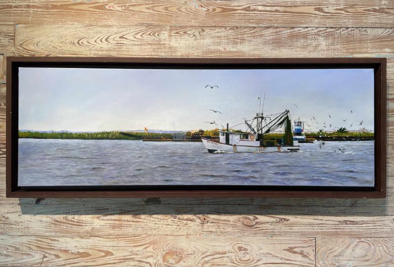 Eluster Richardson Shrimpboat at Apalachicola 12x36 oil on canvas $2500