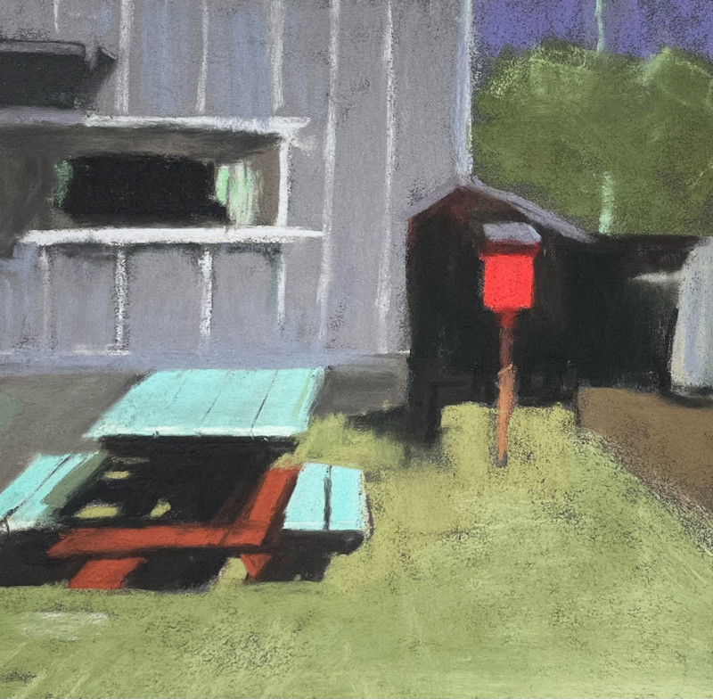 Barbara Noonan A Spot In The Sun 7x7 (12x12 framed) pastel $350