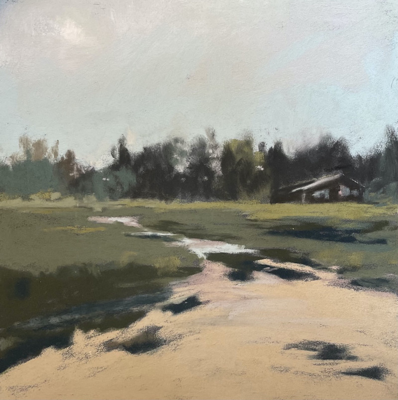 Barbara Noonan Secluded 7x7; (12x12 framed) $350 pastel