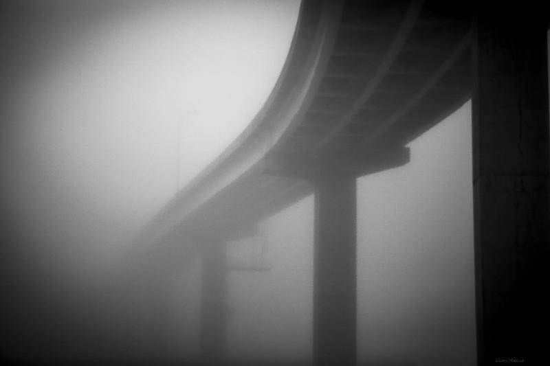 Larry McIntosh Foggy Bridge 21x28 framed $435 SOLD
