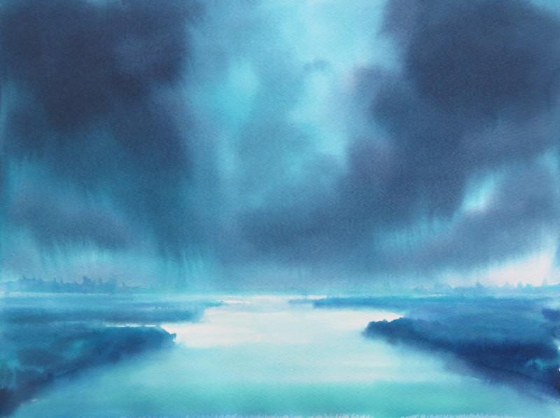 Christine Black Mood Indigo 12x16 watercolor $500