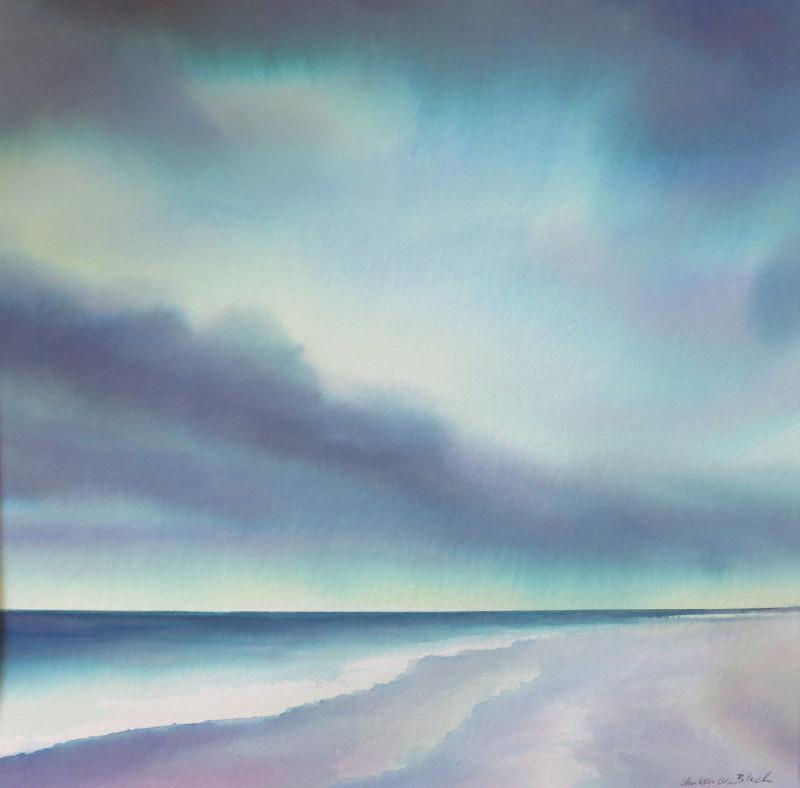 Christine Black Pressure Drop 18x18 (25x25 black framed) watercolor $750 SOLD