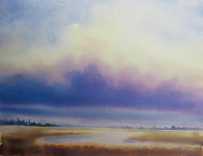 Christine Black Purple Haze 18x18 watercolor $750 SOLD