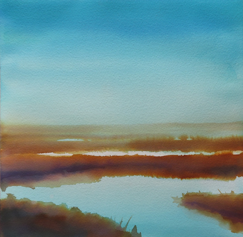 Christine Black The Golden Hour 12x12 watercolor $500