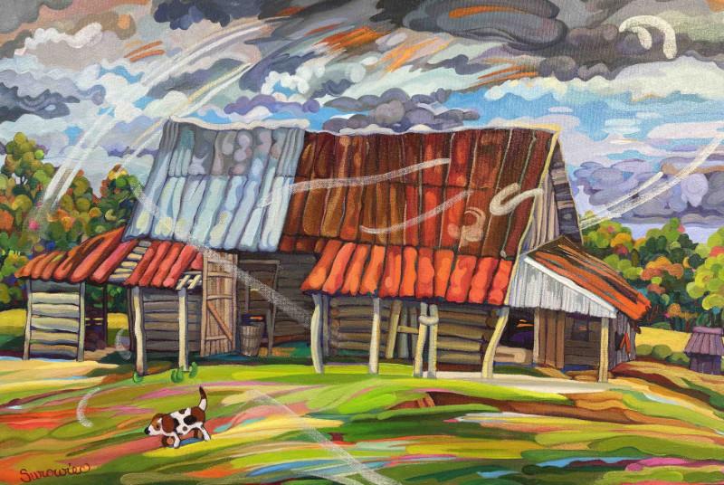 Judith Surowiec Grundy Barn On A Breezy Day 20x30 acrylic on canvas $600