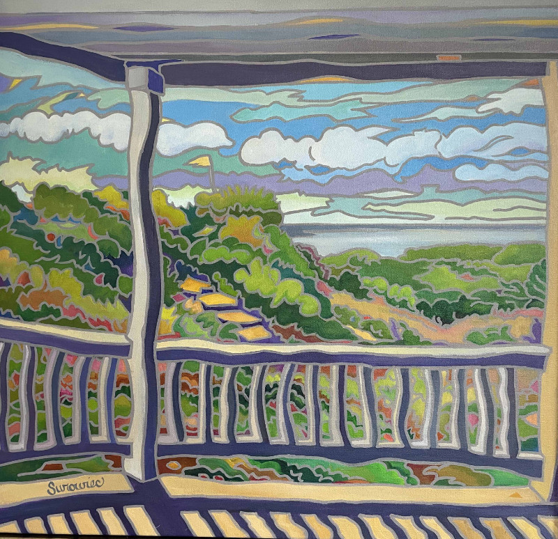 Judith Surowiec Porch With A View 24x24 acrylic on canvas $600