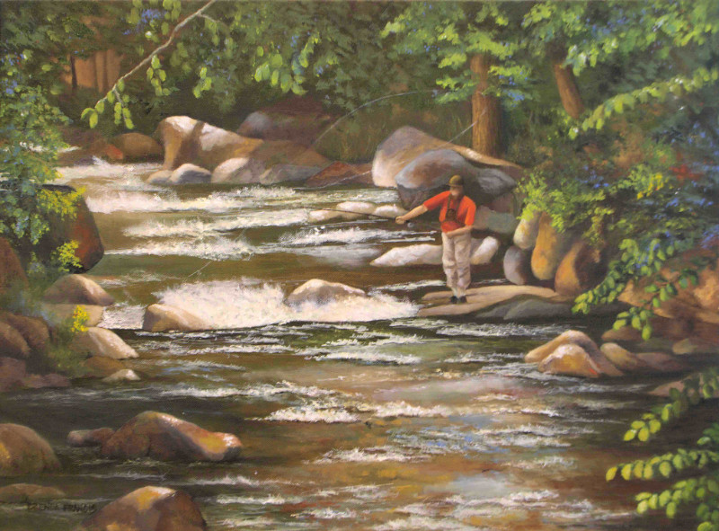 Brenda Francis Fly Fishing on Tremont River 18x24 oil on canvas $750