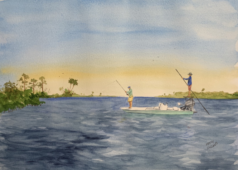 Marty Holland Morning Cast 9x12 watercolor $300