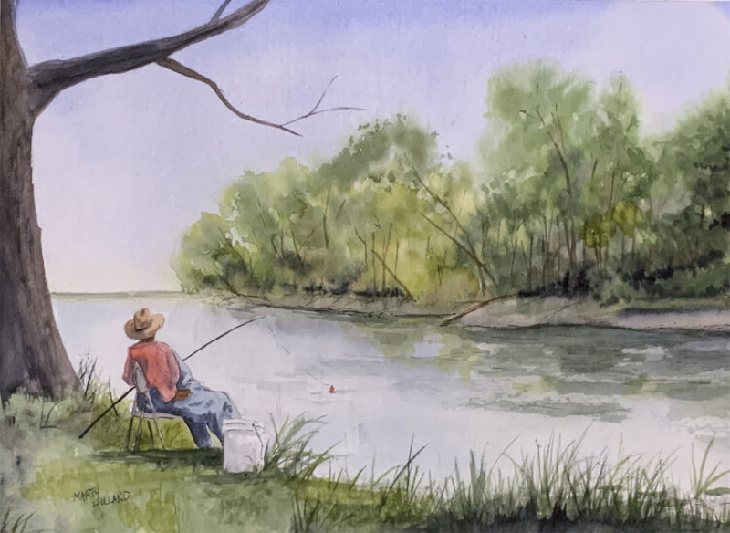 Marty Holland They Say The Fish Are Biting Today 8x10 watrcolor $250