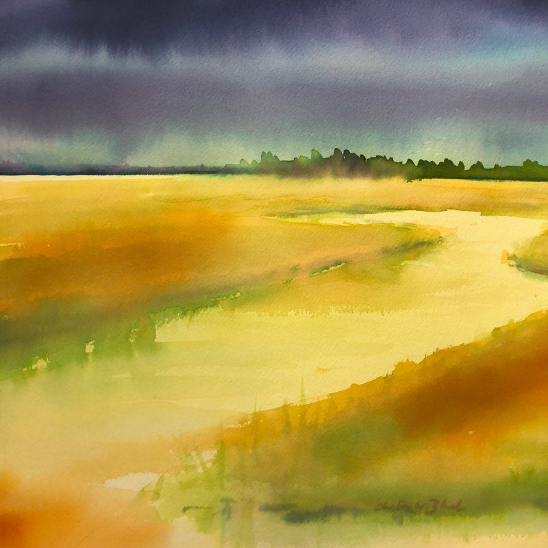 """Christine Black """"On the Way to Apalachicola"""" 18x18 watercolor $425"""